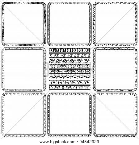 Vector Set Of Elegant Borders And Frames