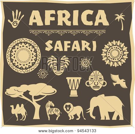 Africa and Safari icon, element set. Poster design