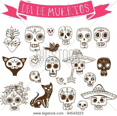 hand drawn doodles, mexican skull set, day of the dead