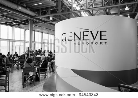 GENEVA - SEP 11: Airport interior on September 11, 2014 in Geneva, Switzerland. Geneva International Airport is the international airport of Geneva, Switzerland