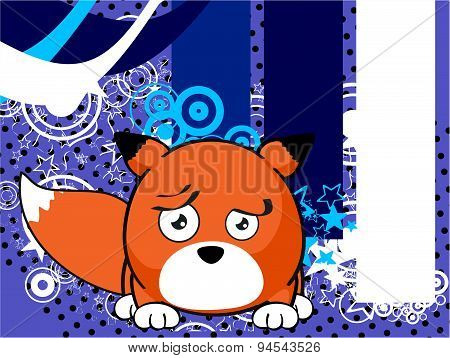 sad fox baby ball cartoon background