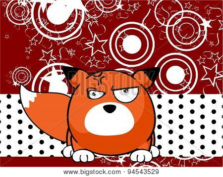angry fox baby ball cartoon background