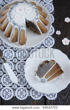 Homemade cake with poppy seeds