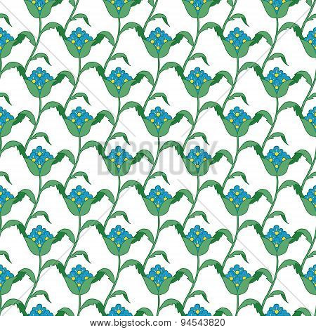 Vector Blue Green Turkish Flowers Geometric Seamless Pattern