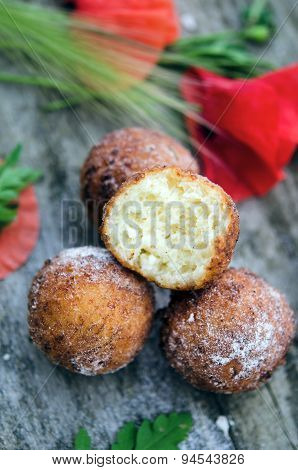 Freshly baked cheese donuts