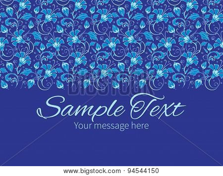 Vector dark blue turkish floral horizontal border greeting card invitation template