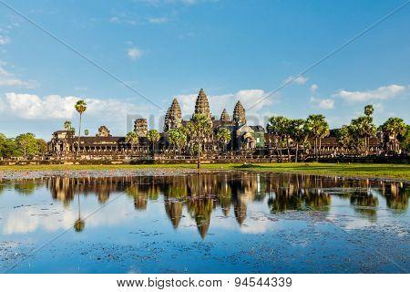 Cambodian landmark Angkor Wat with reflection. Siem Reap, Cambodia