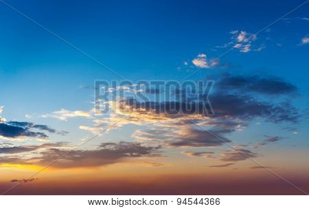 Evening sunset sky with dramatic clouds