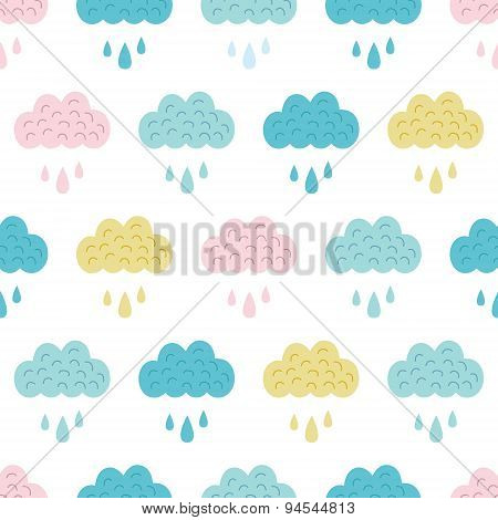 Vector Fun Colorful Clouds Seamless Pattern