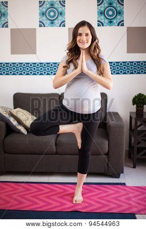 Cute Pregnant Woman Doing Yoga