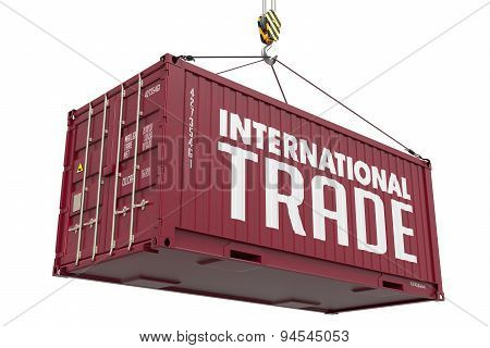 International Trade concept with a Metal Shipping Container.
