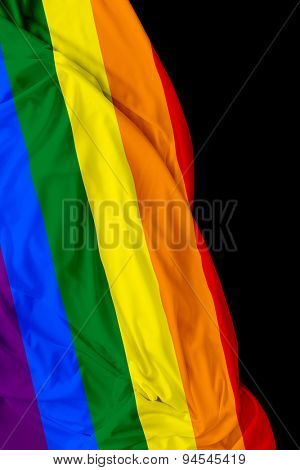 LGBT waving flag on black background