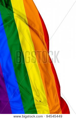 LGBT waving flag on white background