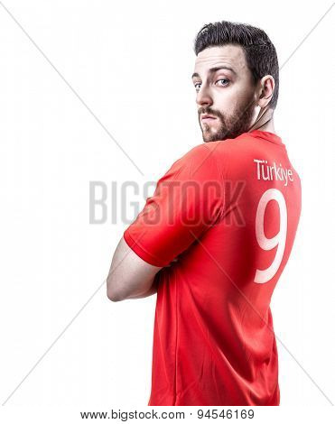 Turkish soccer player on white background