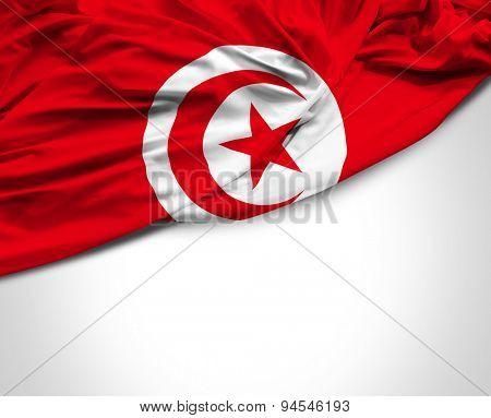 Tunisia waving flag on white background