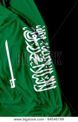 Saudi Arabia waving flag on black background