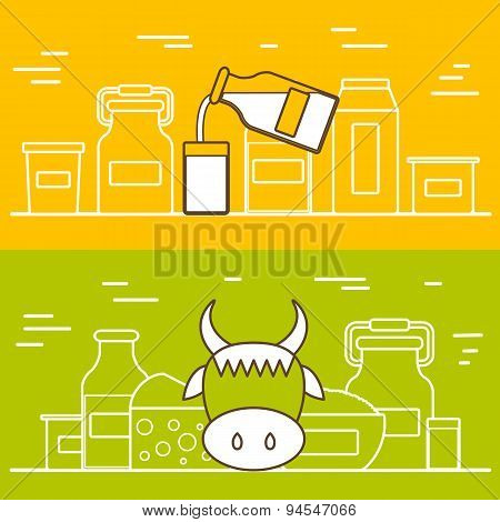 Milk products vector concept with flat objects