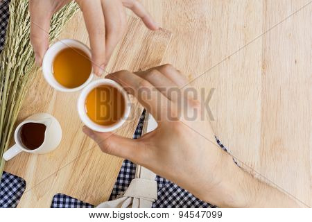 Taking Tea Cups On Wood Texture Background