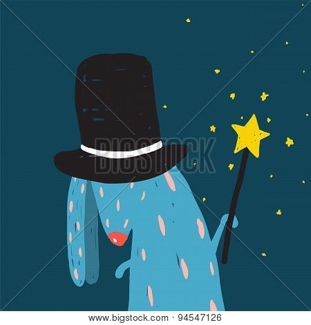 Rabbit in Black Hat Doing Tricks with Magic Wand