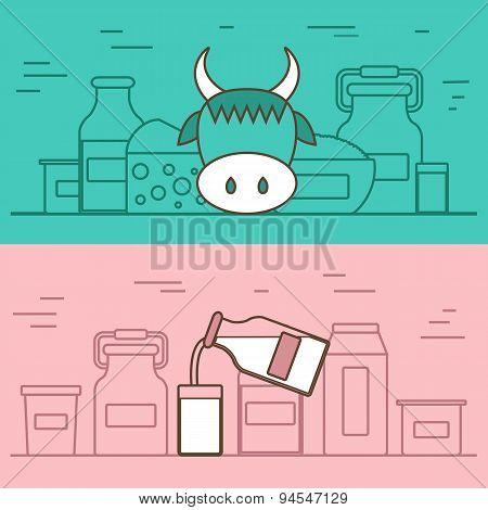 Milk products vector concept with flat objects. Great for healthy magazines, cooking web sites