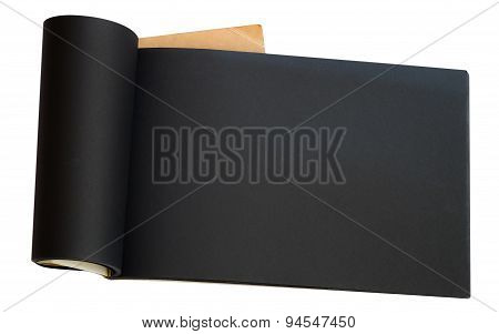 Opened black page notebook