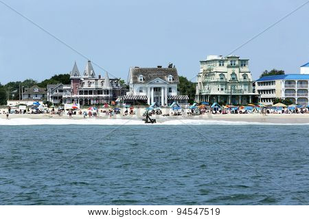 Cape May, NJ, June 24, 2015: Beach goers enjoy a beautiful day in Cape May, New Jersey.