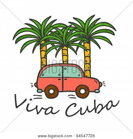 Vector illustration with hand drawn palms and vintage car. Travel or vacation concept