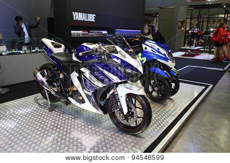 Bangkok - June 24 :yamaha Motocycle  Car On Display At Bangkok International Auto Salon 2015 On June