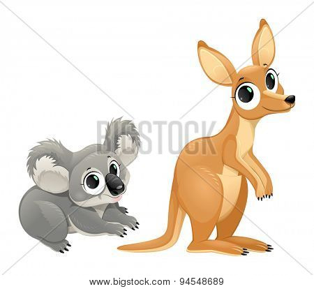 Funny marsupials, koala and kangaroo. Vector cartoon isolated characters.
