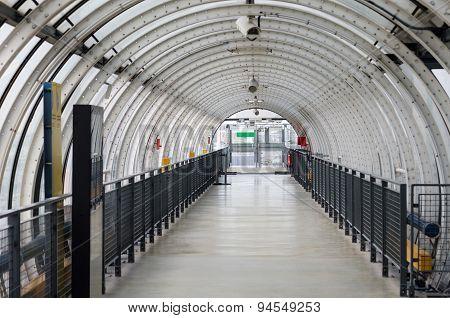 Glass Tube Corridor At Pompidou Centre In Paris