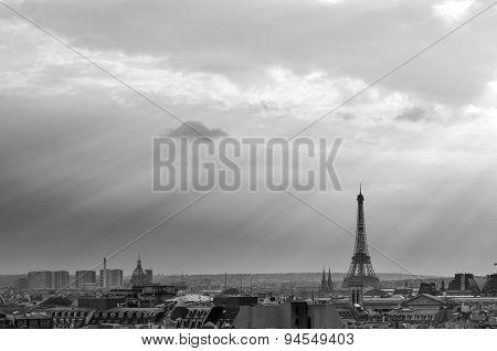 Eiffel Tower With Paris Skyline At Sunset