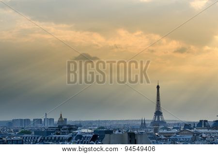 Eiffel Tower With Paris Skyline At Sunset