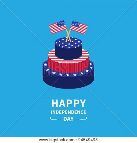 Cake With Star And Strip Two Flags Happy Independence Day United States Of America. 4Th Of July. Fla