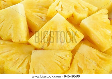 Close Up Slice Pineapple Background Texture