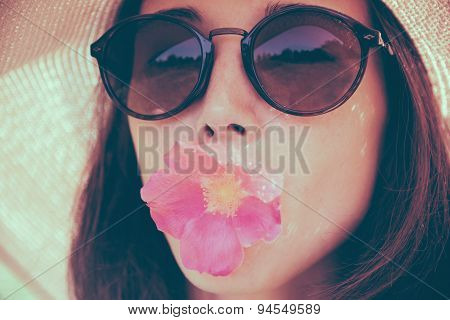 Beautiful Girl With Pink Flower