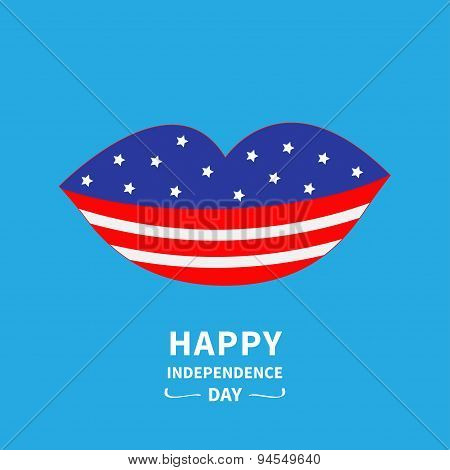 Lips With Star And Strip Blue Backgraund Happy Independence Day United States Of America. 4Th Of Jul