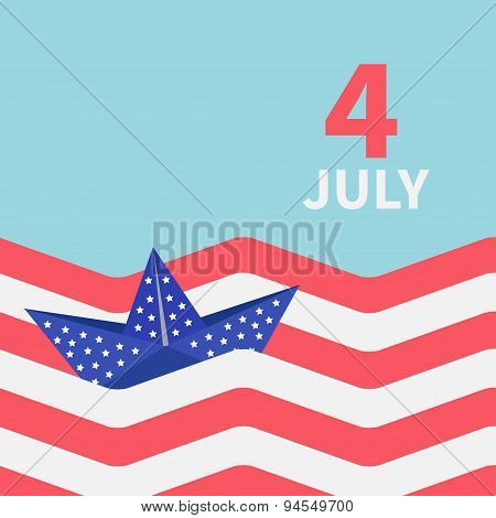Paper Boat With Stars. Striped Ocean 4Th Of July. Happy Independence Day United States Of America. F