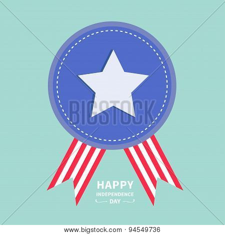 Blue Badge With Ribbons Award Icon Star And Strip Happy Independence Day United States Of America. 4