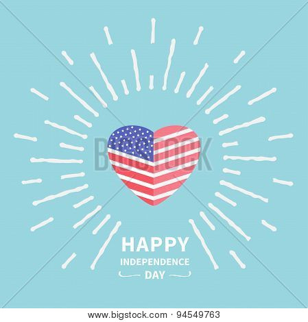Shining Heart Flag Star And Strip Happy Independence Day United States Of America. 4Th Of July. Flat