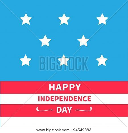 Stars Srips Background Happy Independence Day United States Of America. 4Th Of July. Flat Design
