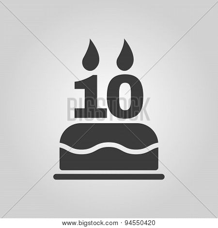 The Birthday Cake With Candles In The Form Of Number 10 Icon. Birthday Symbol. Flat