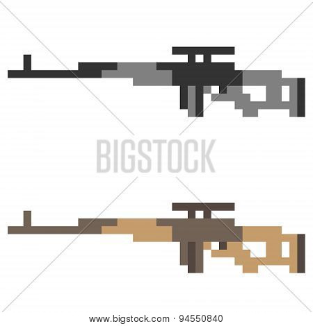 illustration pixel art icon sniper rifle