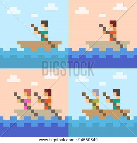 illustration pixel art boat sea