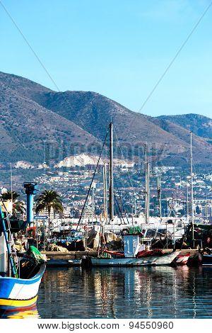 Fishing harbor of Fuengirola, holiday resort near Malaga, Southern Spain