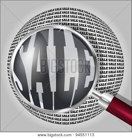 Magnifying Glass Over The Word Sale. Vector Illustration.