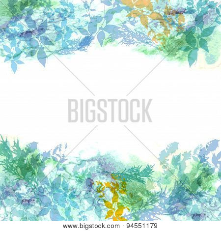 Spring background, wreath with mint green leaves, watercolor. banner for text. Vector