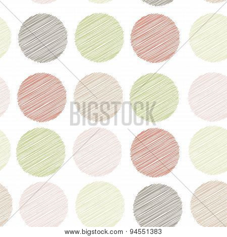 Polka dot background, seamless pattern. embroidery stitches. scribble dot on white background. Vecto