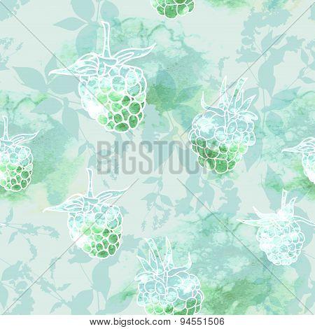 raspberry on green background, seamless pattern. Vector