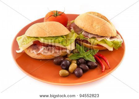 Sandwiches Isolated On White Background