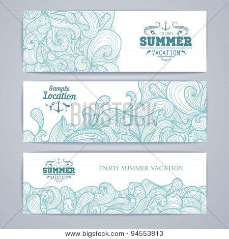 Set Of Banners. Osean Summer Decorative Background